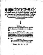 Ein stück der predigt Th. Thameri ... von den Zeugen seiner lehr, widderlegt