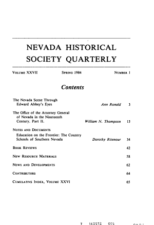 Nevada Historical Society Quarterly PDF