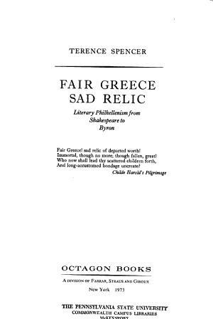 Fair Greece! Sad Relic