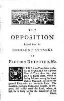 The Opposition Rescued from the Insolent Attacks of Faction Detected PDF