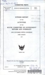 Interim Report of the Activities of the House Committee on Government Reform and Oversight, One Hundred Fifth Congress, First Session, 1997