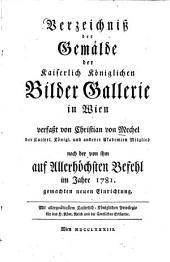 Verzeichniss der Gemälde der Kaiserlich Königlichen Bilder Gallerie in Wien
