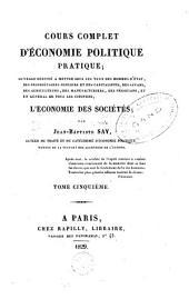 Cours complet d'économie politique pratique: Volume5