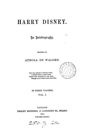 Harry Disney  ed   really written by  Atholl de Walden PDF