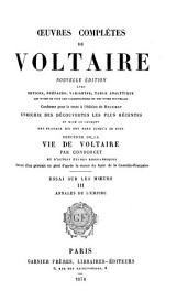 Œuvres complètes de Voltaire: Essai sur les mœeurs (cont'd) Annales de l'empire. 1878