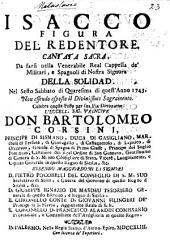 Isacco, Figura del Redentore, cantata sacra [in verse], etc: Part 1