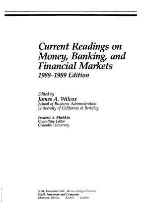 Current Readings on Money  Banking  and Financial Markets PDF