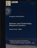 Science and Technology Research Centers, Fiscal Year 1988