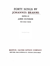 Forty Songs by Johannes Brahms: For High Voice