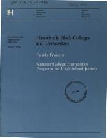 Historically Black Colleges and Universities Faculty Projects  and  Summer College Humanities Programs for High School Juniors PDF