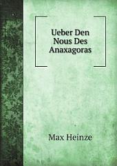 Ueber Den Nous Des Anaxagoras