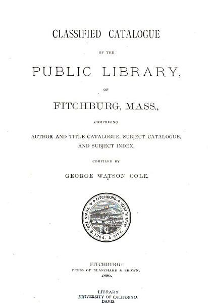 Download Classified Catalogue of the Public Library  of Fitchburg Mass Book