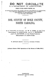 Soil survey of Hoke County, North Carolina
