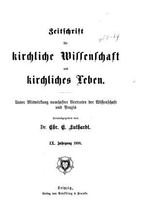 Zeitschrift f  r kirchliche Wissenschaft und kirchliches Leben PDF