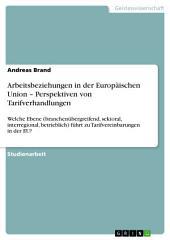 Arbeitsbeziehungen in der Europäischen Union – Perspektiven von Tarifverhandlungen: Welche Ebene (branchenübergreifend, sektoral, interregional, betrieblich) führt zu Tarifvereinbarungen in der EU?