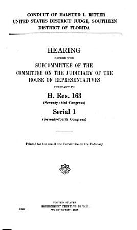 Conduct of Halsted L  Ritter  U S  District Judge  Southern District of Florida PDF