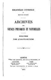 Archives des sciences physiques et naturelles: Volumes42à43