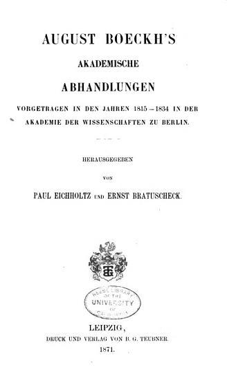 August Boeckh s gesammelte kleine Schriften PDF