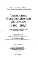 Verzeichnis   sterreichischer Zeitungen  1800 1945 PDF