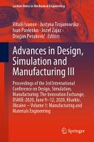 Advances in Design  Simulation and Manufacturing III PDF