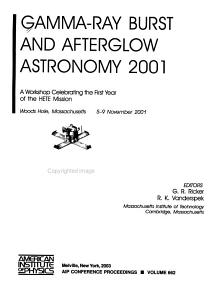 Gamma Ray Burst and Afterglow Astronomy 2001 PDF