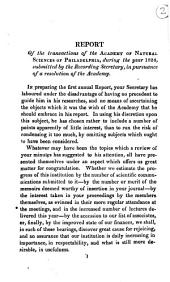 Report of the Transactions of the Academy of Natural Sciences of Philadelphia, During the Year 1824, Submitted by the Recording Secretary, in in Pursuance of a Resolution of the Academy