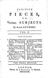 Fugitive Pieces on Various Subjects: A vindication of natural society