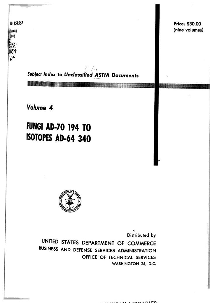 Subject Index to Unclassified ASTIA Documents