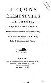 Leçons élémentaires de chimie: à l'usage des lycées