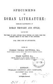 Specimens of Roman literature, selected from the works of Latin authors, ed. by C.T. Cruttwell and P. Banton