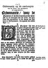 Ordonnantie op de consumptie van het zout, soo gerafineert als ongerafineert [...] in [...] Hollandt en Westvrieslandt: innegaande den eersten april 1747