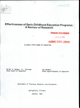 Effectiveness of Early Childhood Education Programs PDF