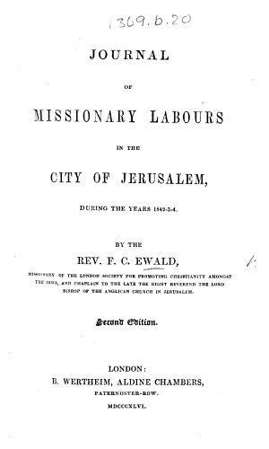 Journal of missionary labours in the City of Jerusalem     1842 4  Second edition