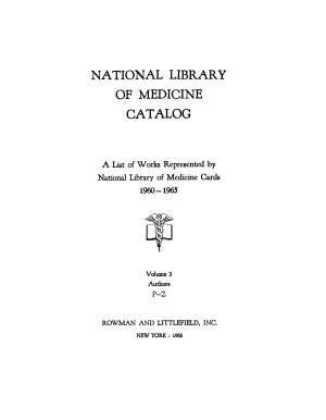 National Library of Medicine Catalog PDF
