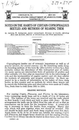 Notes on the Habits of Certain Coprophagous Beetles and Methods of Rearing Them PDF