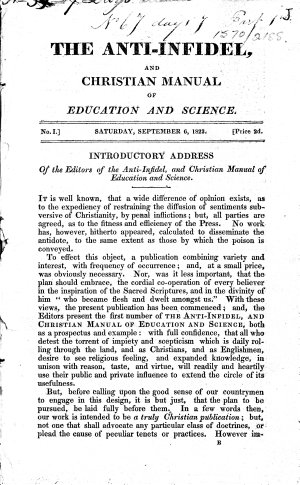 The Anti Infidel  and Christian Manual of Education and Science  Pt  1  No  1 6
