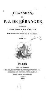 Chansons Précédées d'un notice sur l'auteur et d'un essai sur ses poésis par P.F. Tissot: Volumes2à3