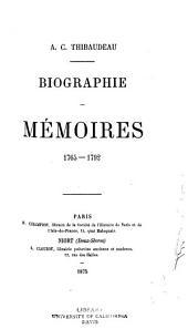 Biographie: Mémoires, 1765-1792