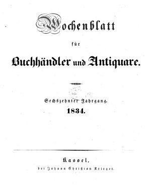 Wochenblatt f  r Buchh  ndler und Antiquare PDF