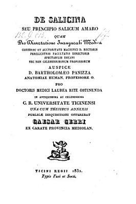 De salicina seu principio salicum amaro  Diss  inaug  med    Ticini regii  Fusi 1832