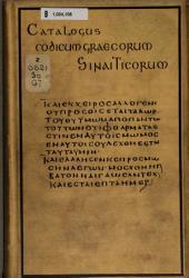 Catalogus codicum Graecorum Sinaiticorum