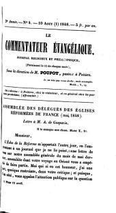 Lettre à M. de Gasparin: 10 août 1848, pour 15 avril