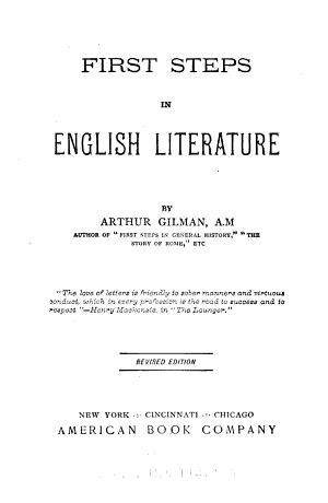 First Steps in English Literature PDF