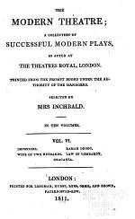 The impostors, by Richard Cumberland. The wife of two husbands, Ramah Droog; by James Cobb. The law of Lombardy, Braganza; by Robert Jephson