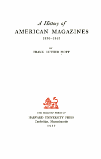 A History of American Magazines  1850 1865 PDF