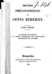 Oeuvres philosphiques de Denis Diderot: Le neveu de Rameau. Plan d'une université. Sur l'éducation. Fragments de lettres. 265 p