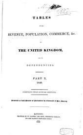 Tables of the revenue, population, commerce, &c. of the United Kingdom and its dependencies: Part 10