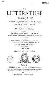 La littérature française depuis la formation de la langue jusqu'à nos jours: Volume3