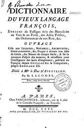 Dictionnaire du vieux langage françois...
