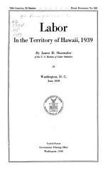 Labor In The Territory Of Hawaii 1939 Book PDF